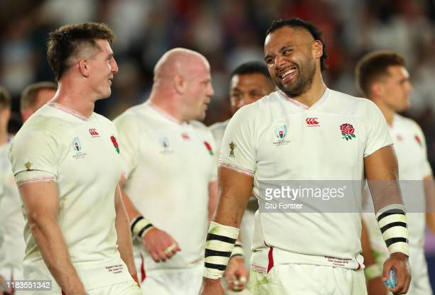 England players Tom Curry and Billy Vunipola share a joke after the Rugby World Cup 2019 SemiFinal match between England and New Zealand at...