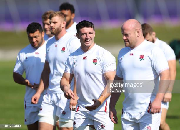 England players Tom Curry and Dan Cole share a joke during England captains run ahead of the 2019 Rugby World Cup Final at Fuchu Asahi Football Park...