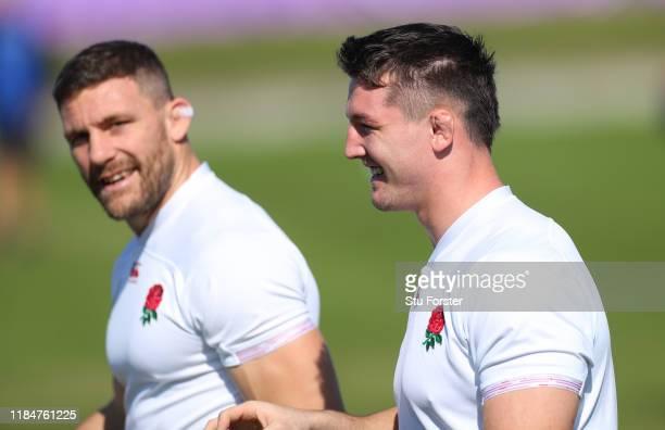 England players Tom Curry and Mark Wilson share a joke during England captains run ahead of the 2019 Rugby World Cup Final at Fuchu Asahi Football...