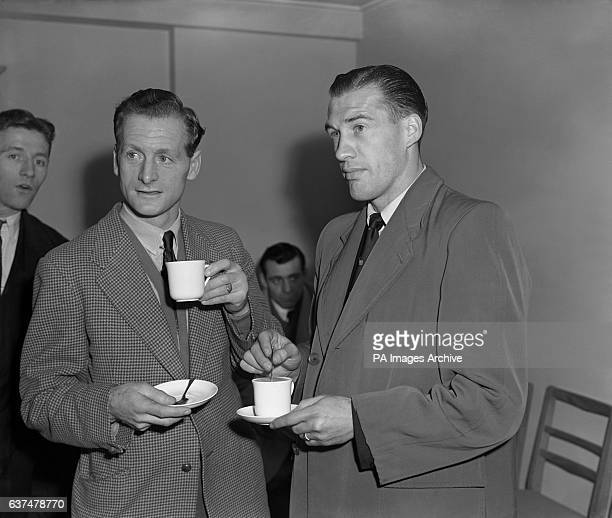 England players Tom Finney left with Nat Lofthouse at TV House in London watching a film of the Spain v Ireland match over a cup of tea