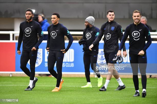 England players train during an England Media Access day at St Georges Park on October 07 2019 in BurtonuponTrent England