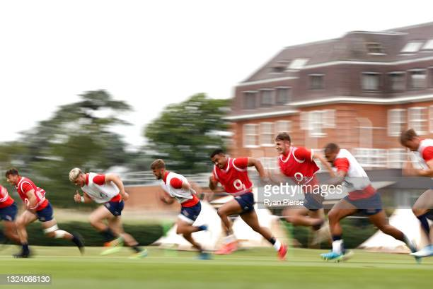 England players train during an England Rugby Training Session at The Lensbury on June 17, 2021 in Teddington, England.
