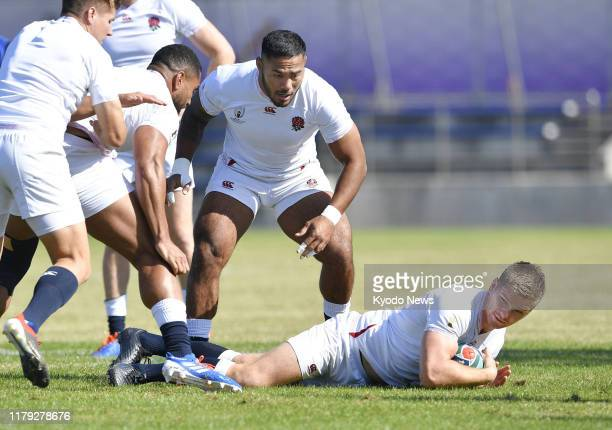 England players train in Fuchu western Tokyo on Nov 1 ahead of a Rugby World Cup final against South Africa
