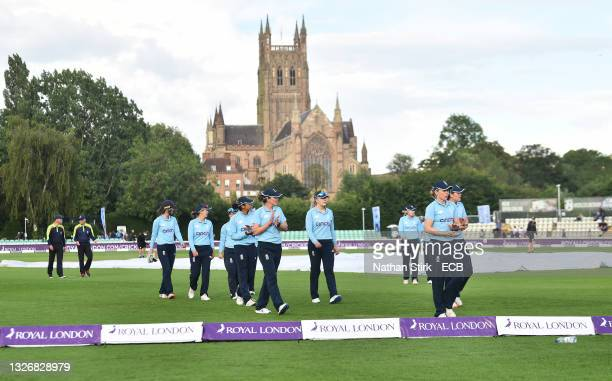 England players walk off the pitch after he women's third one day international match between England and India at New Road on July 03, 2021 in...
