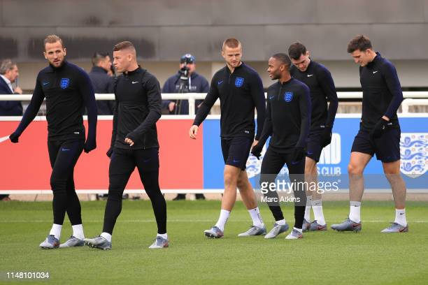England players walk out led by Harry Kane during an England training session on the eve of their UEFA Nations League match against the Netherlands...