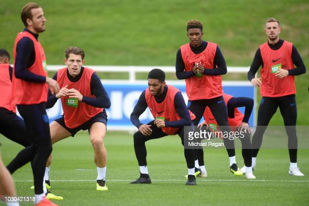 England players warm up during a training session at St Georges Park on September 10 2018 in BurtonuponTrent England