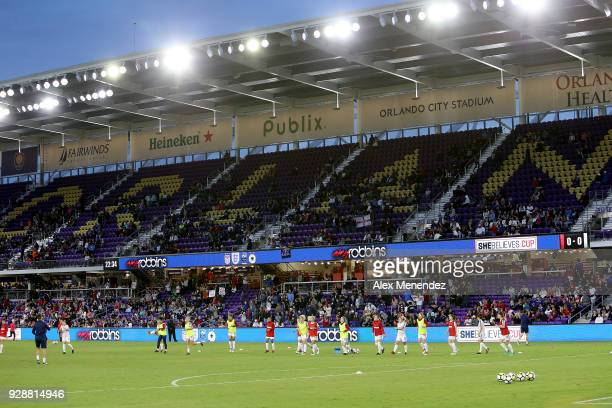 England players warm up on the pitch prior to the SheBelieves Cup soccer match between United States and England at Orlando City Stadium on March 7...