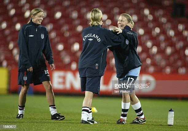 England players warmup before the FIFA 2003 Women's World Cup Qualifying PlayOff first leg match between England and France held on October 17 2002...