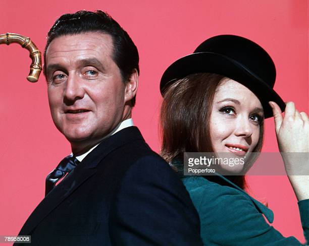"England Portraits of Patrick McNee and Diana Rigg in their roles as John Steed and Emma Peel in the television series ""The Avengers"""