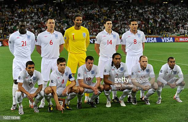 England pose for a team group before the start of the 2010 FIFA World Cup South Africa Group C match between England and Algeria at Green Point...
