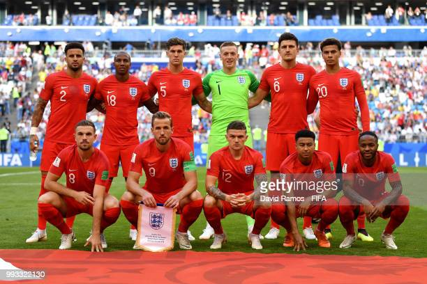 England pose for a team photo during the 2018 FIFA World Cup Russia Quarter Final match between Sweden and England at Samara Arena on July 7 2018 in...