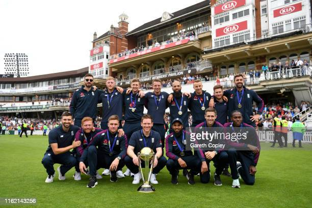 England pose for a team picture during the England ICC World Cup Victory Celebration at The Kia Oval on July 15, 2019 in London, England.