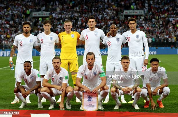 England pose gfor a team photo prior to the 2018 FIFA World Cup Russia Semi Final match between England and Croatia at Luzhniki Stadium on July 11...