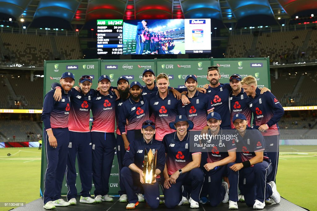 England pose with the series trophy after winning the series 4-1 during game five of the One Day International match between Australia and England at Perth Stadium on January 28, 2018 in Perth, Australia.