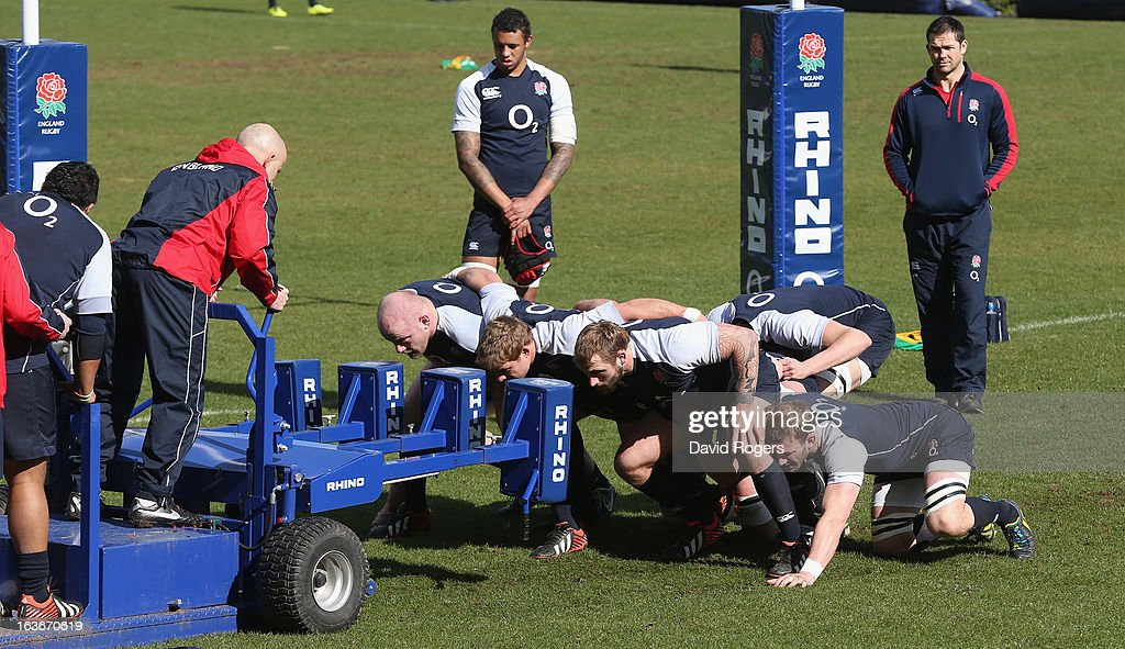 England practice their scrummaging during the England training session at Pennyhill Park on March 14, 2013 in Bagshot, England.