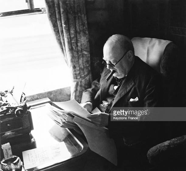 England Prime Minister Winston Churchill At Work During A Train Journey