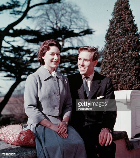 England Princess Margaret is pictured with her fiancee Lord Snowdon at Royal Lodge, Windsor