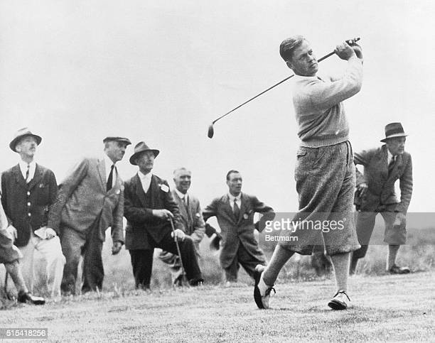 England: Professional golfer Bobby Jones driving from the fairway during the 1930 British Open Golf Tournament.