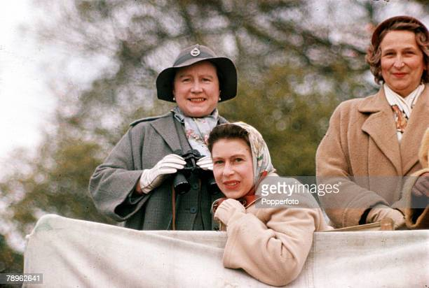 England Queen Elizabeth II and the Queen Mother are pictured at the Badminton Horse Trials