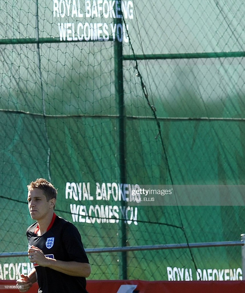 England replacement defender Michael Dawson runs during a training session at the Royal Bafokeng Sports Campus near Rustenburg on June 5, 2010. Dawson was flown from England to replace captain Rio Ferdinand after he injured his knee during the team's first training session in the country on the eve.