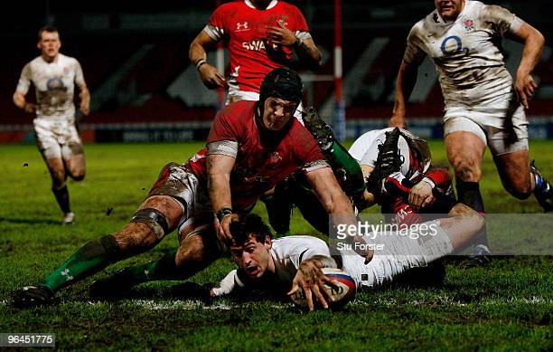 England replacement Jonny May dives over to score during the International match between England U20 and Wales U20 International match at Kingsholm...