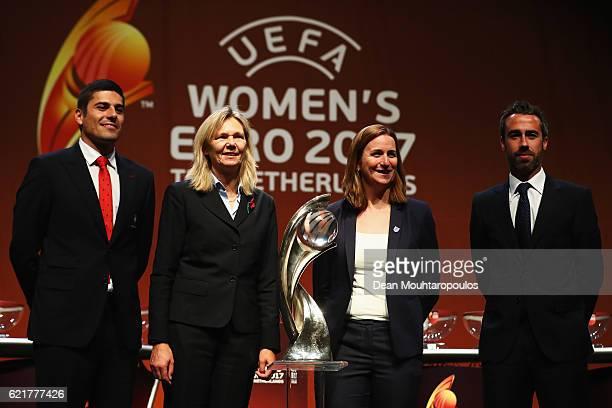 England representative Portugal coach Francisco Neto Scotland coach Anna Signeul and Spain coach Jorge Vilda on stage during the UEFA Women's EURO...