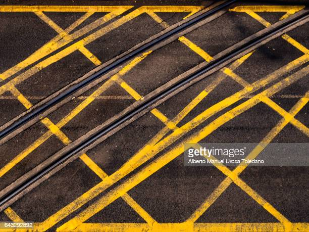 England, road and tram tracks