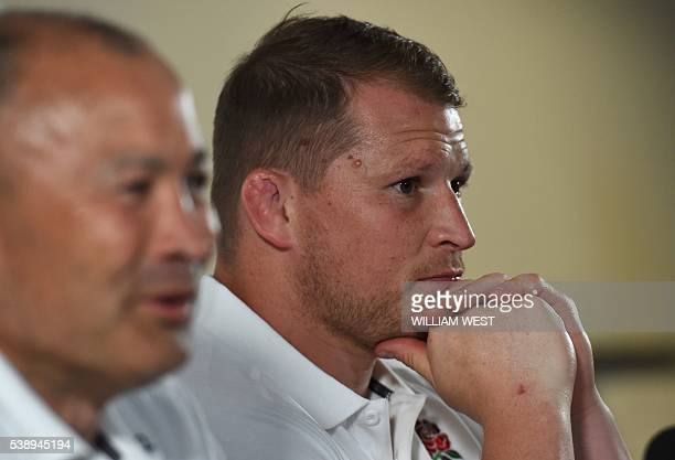 England rugby captain Dylan Hartley and coach Eddie Jones speak to the media after the announcemnet of the England team to play Australia in Brisbane...