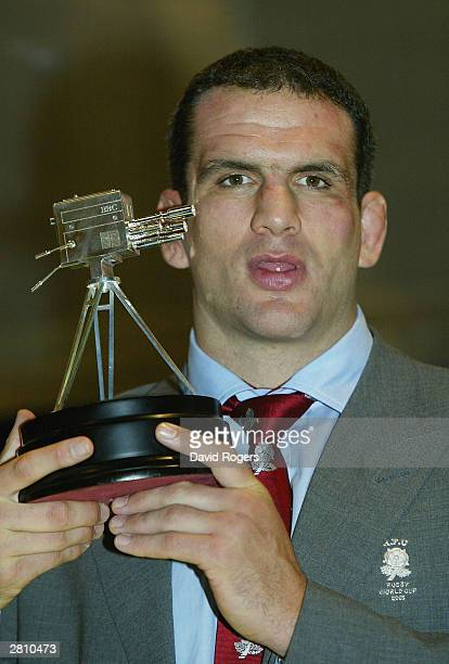 England rugby captain Martin Johnson poses with his trophy for second place in the BBC Sports Personality of the Year Award at the end of the BBC...