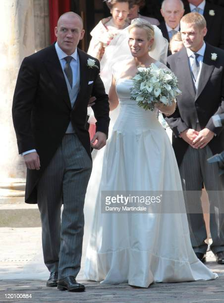 England rugby captain Mike Tindall and Zara Phillips as they leave the church after their marriage at Canongate Kirk on July 30, 2011 in Edinburgh,...