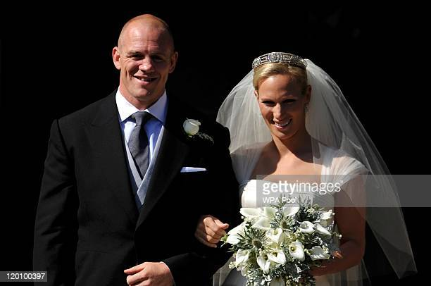 England rugby captain Mike Tindall and Zara Phillips leave the church after their marriage at Canongate Kirk on July 30, 2011 in Edinburgh, Scotland....