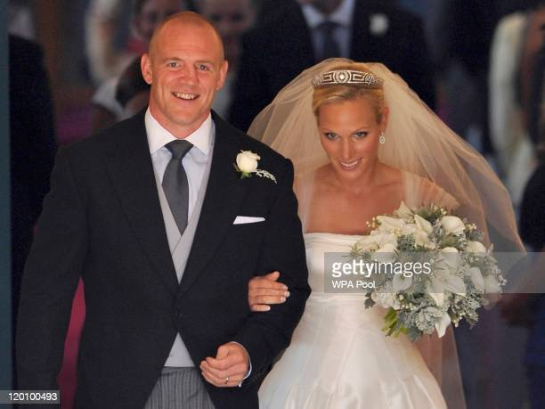 England rugby captain Mike Tindall and Zara Phillips leave the church after their marriage at Canongate Kirk on July 30 2011 in Edinburgh Scotland...