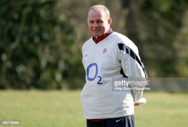 England Rugby Coach Andy Robinson during a training session prior to the Six Nations match against Scotland at Pennyhill Park in Bagshot Surrey on...