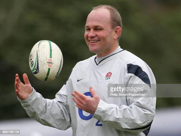 England Rugby Coach Andy Robinson smiling during a training session prior to the Six Nations match against Italy at Pennyhill Park in Bagshot Surrey...