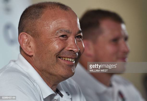 England rugby coach Eddie Jones and captain Dylan Hartley speak to the media after the announcemnet of the England team to play Australia in Brisbane...