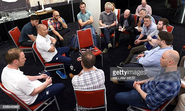 England rugby coach Eddie Jones speaks to the media after the announcement of the England team to play Australia in Brisbane on June 9 2016 Grand...
