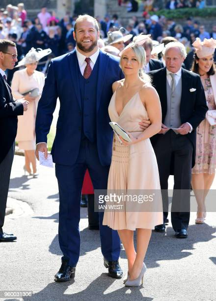England rugby international James Haskell and Chloe Madeley arrive for the wedding ceremony of Britain's Prince Harry Duke of Sussex and US actress...