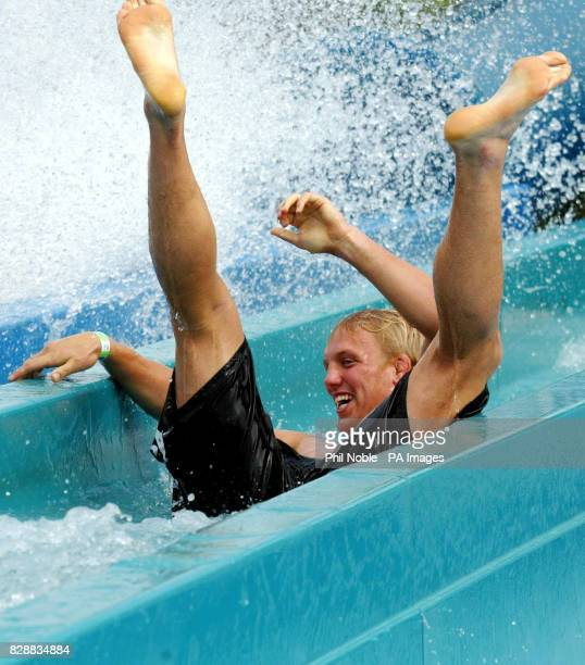 England rugby player Lewis Moody slides down a water chute during a team trip to the 'Wet and Wild' water park near Brisbane's Gold Coast England...