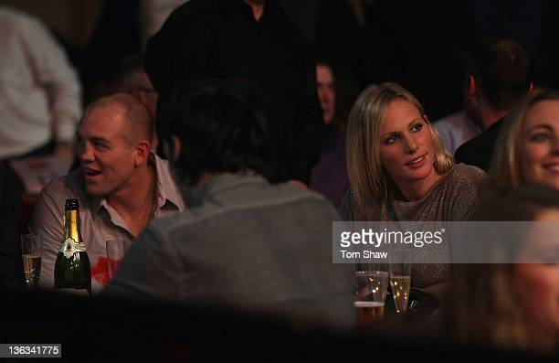 England Rugby player Mike Tindall and his wife Zara Phillips wath the darts during the Final of the World Darts Championships at Alexandra Palace on...