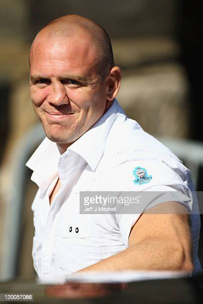England rugby player Mike Tindall smiles as he arrives to royal wedding rehearsal for Zara Phillips And Mike Tindall at Canongate Kirk on July 29,...