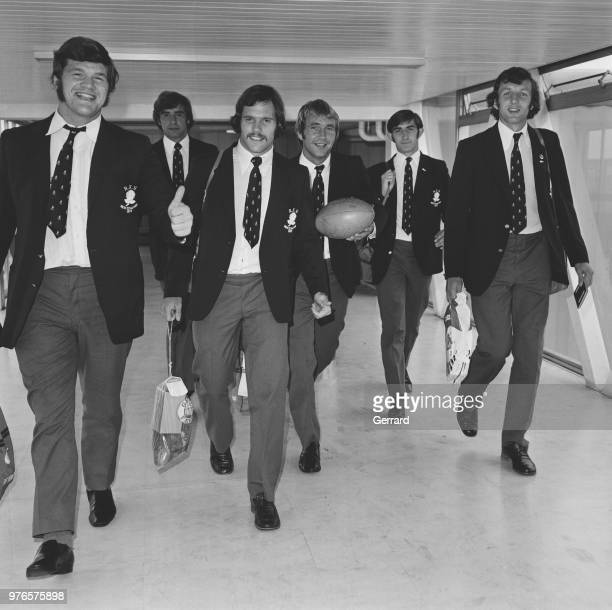 England rugby players arriving at Heathrow Airport from New Zealand London UK 18th September 1973 they are Fran Cotton Geoff Evans David Watkins Alan...