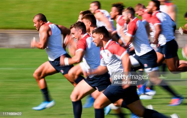 England rugby players take part in a training session during the Japan 2019 Rugby World Cup in Tokyo on October 9 2019