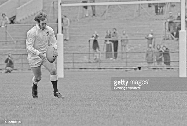 England rugby union footballer Dusty Hare during an England Under 23 match against Tonga at Twickenham, London, UK, 5th October 1974.