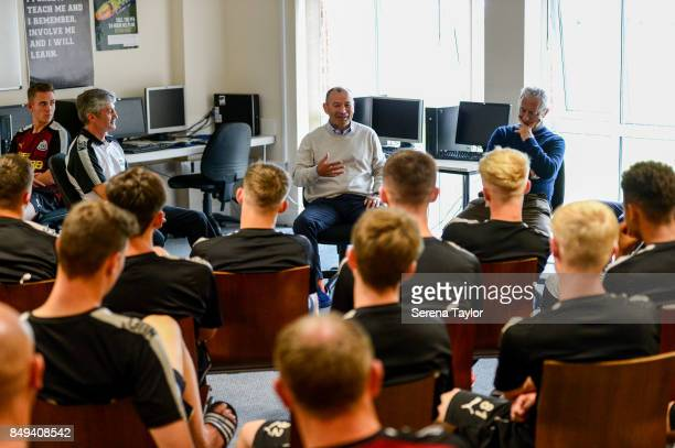England rugby union head coach Eddie Jones is guest speaker during a visit to the Newcastle United Academy on September 18 in Newcastle upon Tyne...