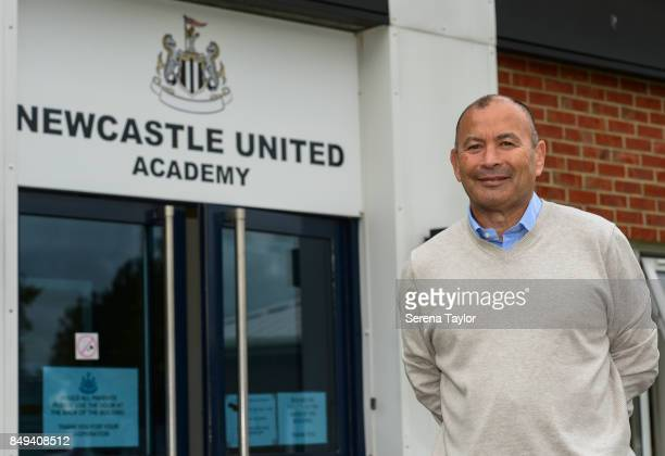 England rugby union head coach Eddie Jones poses for photos during a visit to the Newcastle United Academy on September 18 in Newcastle upon Tyne...