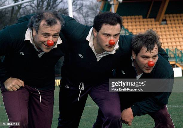 England rugby union players left to right Paul Rendall Brian Moore and Jeff Probyn supporting Red Nose Day 5th February 1988