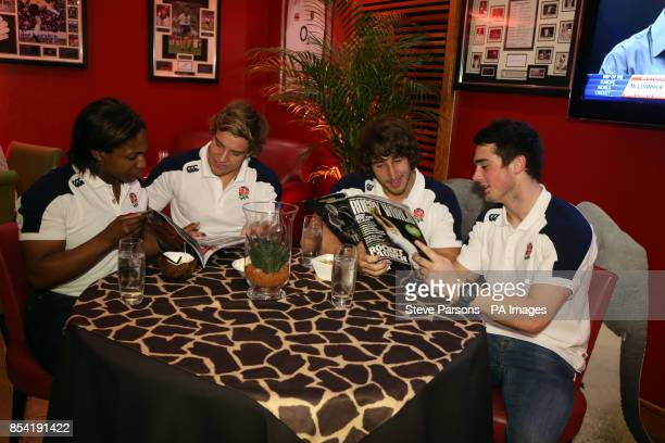 England Rugby Union Sevens players Maggie Alphonsi Tom Mitchell Dan Bibby and James LightfootBrown at the new Sevens bar at the Marriott Hotel near...