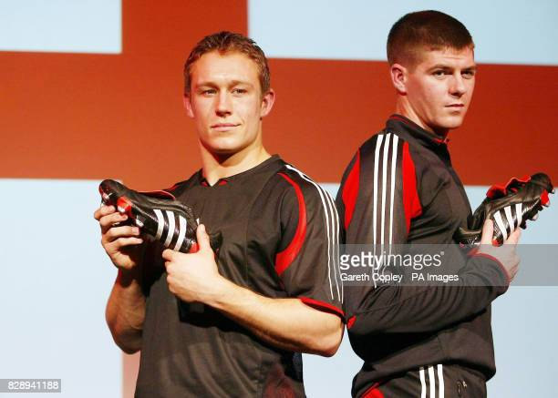 England Rugby Union superstar Jonny Wilkinson alongside Liverpool and England footballer Steven Gerrard at the press launch of the new Adidas...