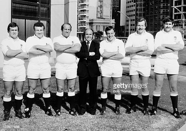 England Rugby Union Team forwards left to right Gary Pearce Paul Rendall Colin Smart Don Gatherer Steve Mills Bill Beaumont and John Fidler pose for...