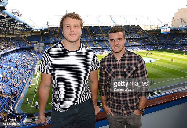 England Rugby Union's Fly-half George Ford and forward Joe Launchbury before a Barclays Premier League match between Chelsea and Arsenal at Stamford...